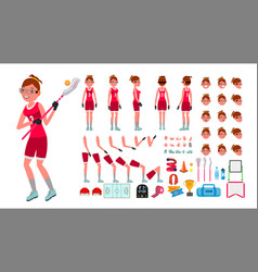 lacrosse player female animated character vector image