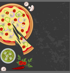 pizza with glass of soda vector image
