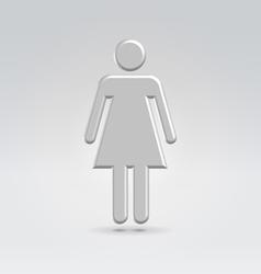 Silver metal female icon vector image