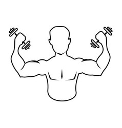 silhouette muscular man lifting a dumbbells icon vector image