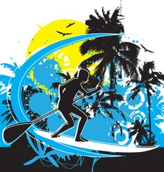 stand up paddle boarding vector image