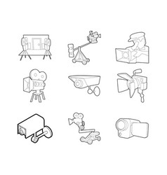 video camera icon set outline style vector image