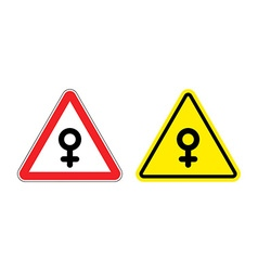 Warning sign of attention woman Yellow danger girl vector image