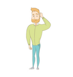 young caucasian hippie man scratching his head vector image