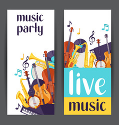 jazz party live music banners with musical vector image