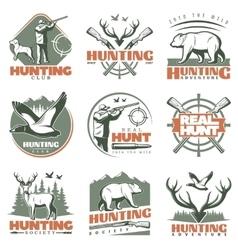 Real Hunt Emblem Set vector image vector image