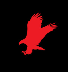red silhouette of eagle isolated on black vector image