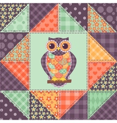 Seamless patchwork owl pattern 1 vector image vector image
