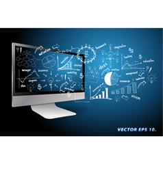 computer with drawing business plan concept ideas vector image vector image