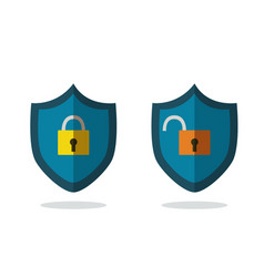 flat safety icons isolated white lock and unlock vector image vector image