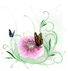 Floral Splash and Butterfly vector image vector image
