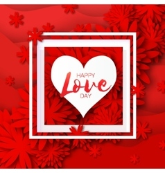 Heart frame Red Flower paper Happy Valentine s vector image