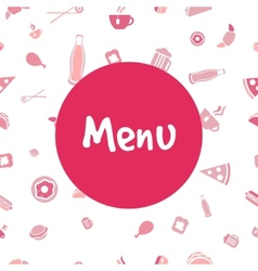menu cover design with food seamless pattern vector image vector image