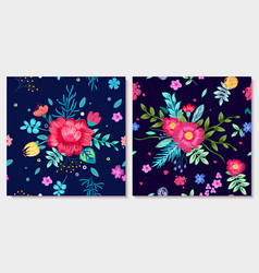 ornamental floral background with colorful flowers vector image vector image