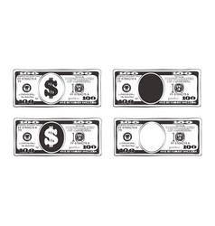 100 dollars in flat cartoon style vector image
