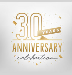 30th anniversary celebration golden template vector image