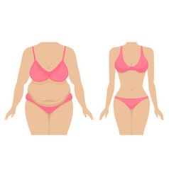 A fat and thin female body vector