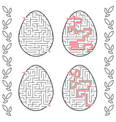 a set of labyrinths in the form of eggs black vector image