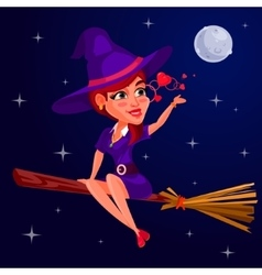 A young girl witch vector