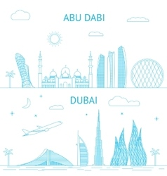Abu Dhabi and Dubai skyline in lines vector