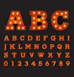 alphabetic font carnival style with large round vector image