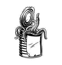 Aluminum can earthworms vintage concept vector