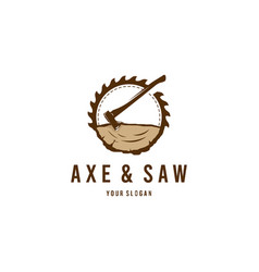 axe saw logo vector image