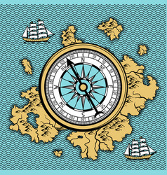 background with old nautical map vector image