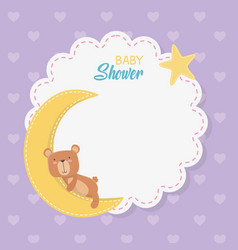 Bashower lace card with little bear teddy with vector
