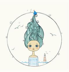 Beautiful girl with flying hair on marine vector
