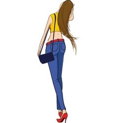 Beautiful slim girl walking vector image