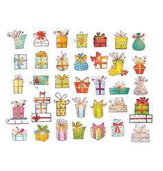 big set colored doodle gift boxes vector image