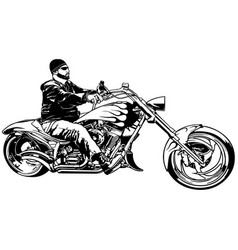 biker on motorcycle vector image