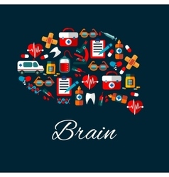 Brain with medical and healthcare flat icons vector image