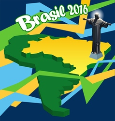 Brasil 2016 country map in 3d and statue of Jesus vector