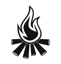 Burning bonfire black simple icon vector image