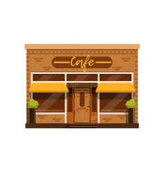 Cafe facade restaurant building with showcase vector