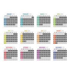 Calendar for 2020 starts sunday vector
