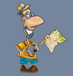 cartoon of a smiling tourist with a camera vector image vector image