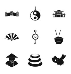 China icon set simple style vector