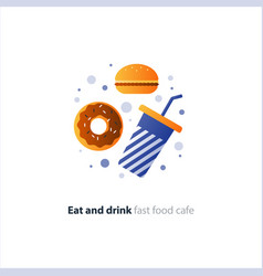 chocolate donut and blue tumbler glass with straw vector image