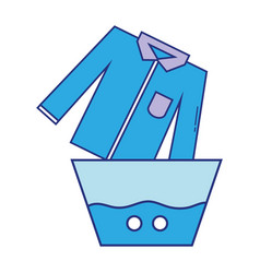 Clean shirt soaking in pail with water vector