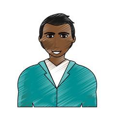 color pencil cartoon half body brunette man with vector image