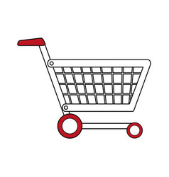 Color silhouette cartoon shopping cart with wheels vector