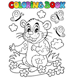 Coloring book with cartoon hamster vector