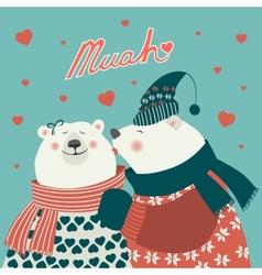 couple kissing bears vector image