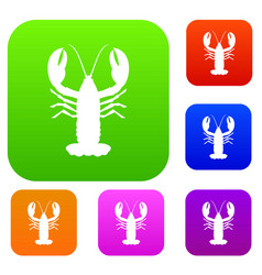 Crayfish set collection vector