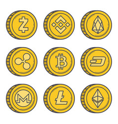 cryptocurrencies gold coin set vector image