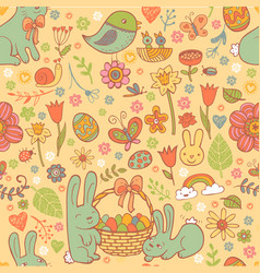 Cute easter seamless pattern vector