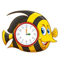cute fish themed clock vector image
